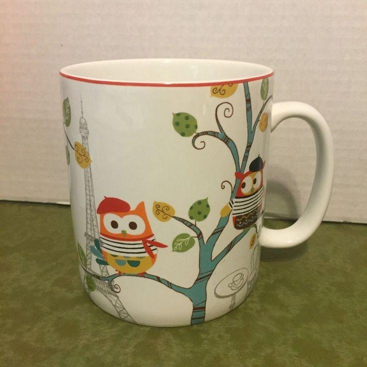Enchanted Woods Paris Beatnik Owls Oversized Coffee Mug Cup 222 Fifth #222Fifth