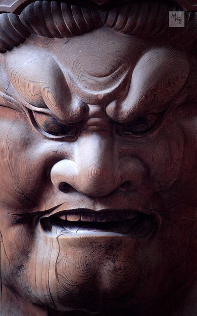 Wood carving, Todai-ji, Nara, Honshu, Japan