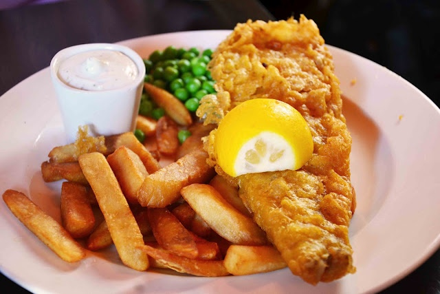 Fish and Chips with a side of garlic mayo. yum!