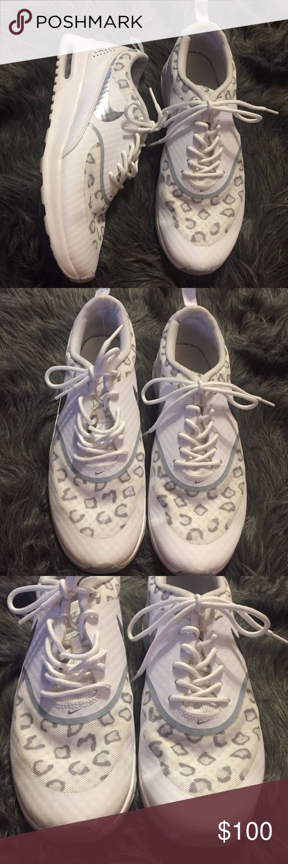 Nike Air Max Thea White Silver Cheetah Print RARE Nike Air Max Thea White & Silver Cheetah Print  Great used condition, lots of life left in these babies! No rips or tears in these. Super hard to find. Nike Shoes Sneakers