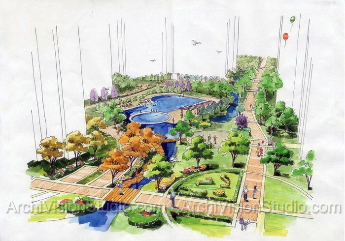 Landscape rendering marker google search illustrated for Landscape design sketches