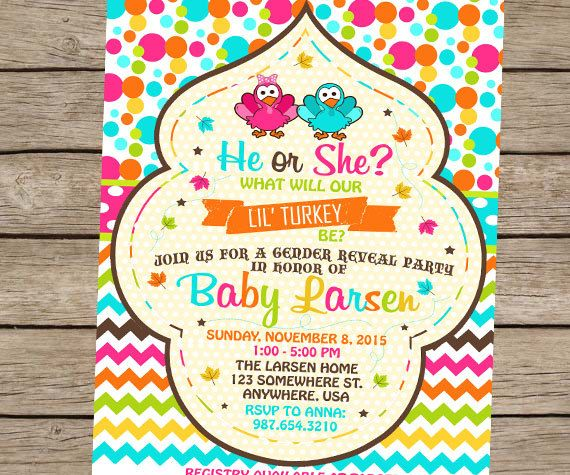 Thanksgiving Gender Reveal Party Invitation, Turkey Gender Reveal, Fall Baby Shower, Fall Gender Reveal Invite He or She PRINTABLE / PRINTED