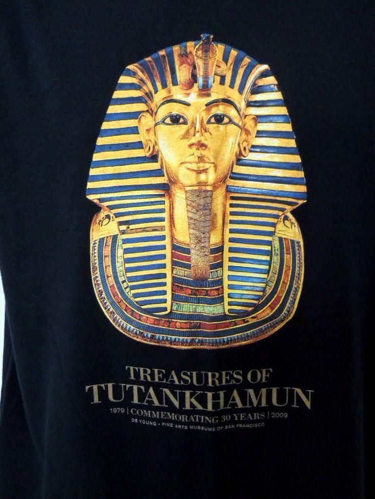 Treasures Tutankhamen Tee Shirt Black Lg De Young 2009 Exhibit 30 Years King Tut #Anvil #ShortSleeve