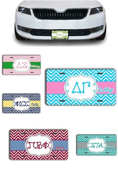 Super Sweet Sorority LICENSE PLATE Spotlight! Style your car with a personalized front license plate in your sorority colors. So cute and perfect for big/little gift giving! http://amzn.to/2jrSX5O
