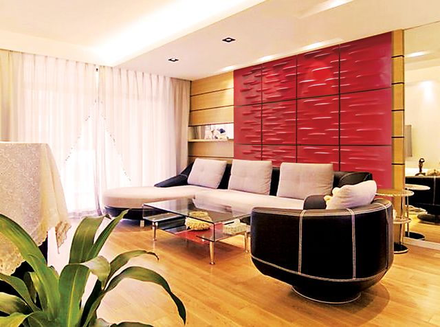 Interior Decorating with Red Color Scheme by 3d Wall Arts & Interiors #interiordecorating #3dwalldesigns