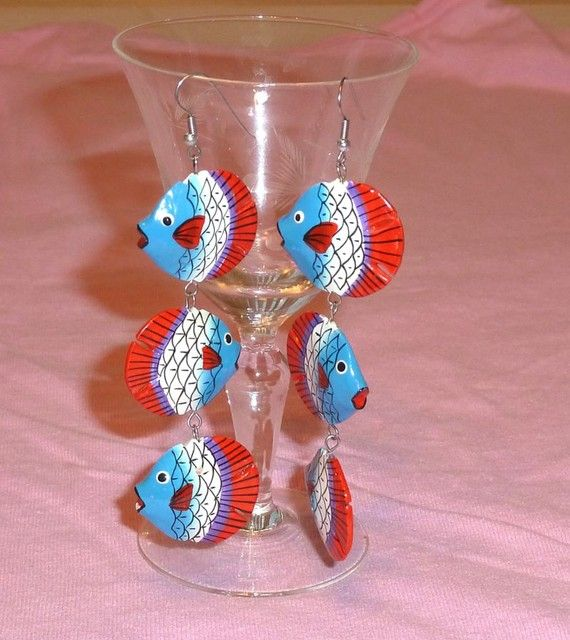 Vintage Dangle Earings   Fish Under 5 by SouthamptonCreations, $4.00