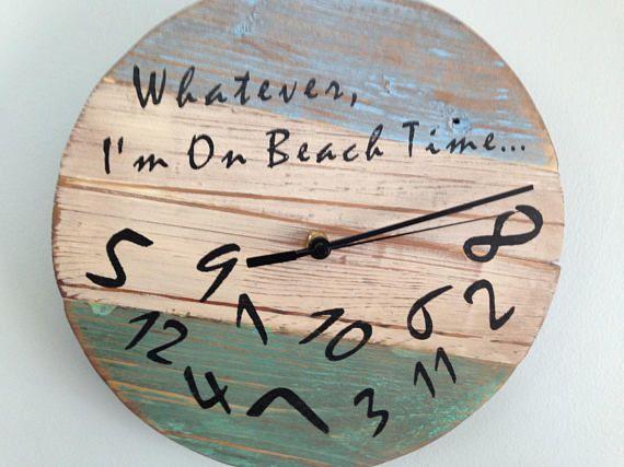 Whatever I M On Beach Time Wall Clock Coastal Beach Decor Beach Signs Beach Time