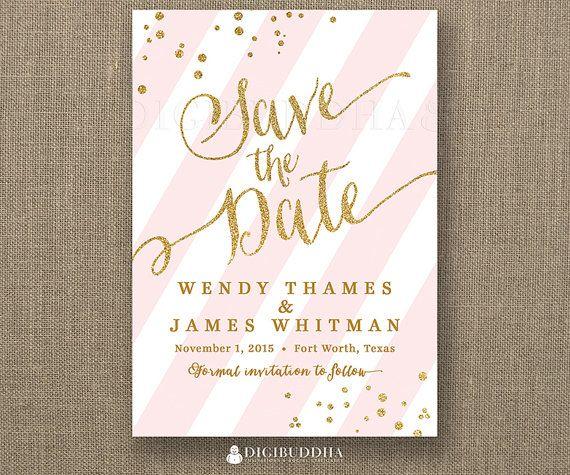 Gold Glitter Save the Date Invitation Blush Pink Stripe Faux Glitter Confetti Wedding Invite FREE PRIORITY SHIPPING or DiY Printable - Wendy