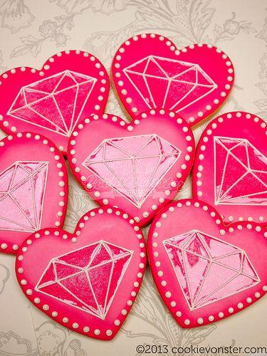 Diamonds and Pearls Hot Pink bridal shower custom cookies