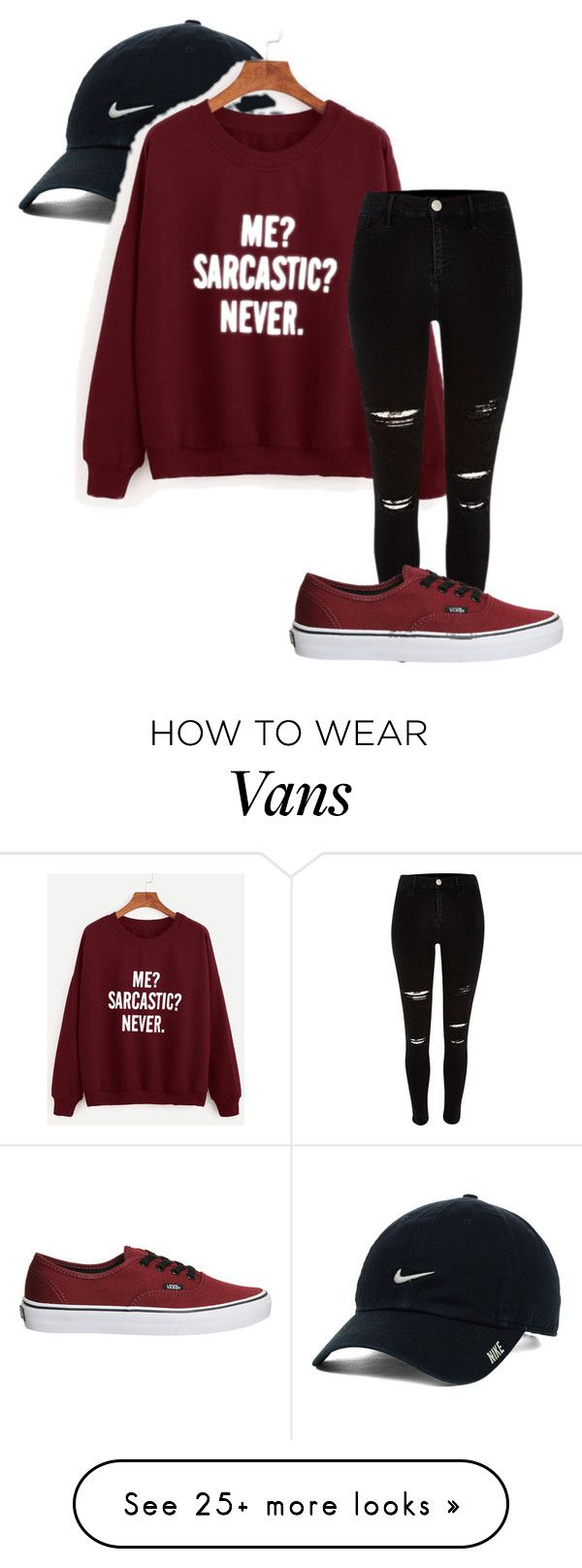 """Heh."" by ogcpowerpuff on Polyvore featuring NIKE, River Island and Vans"