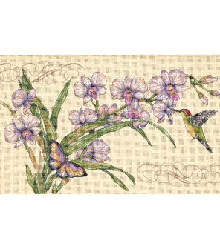 Dimensions Orchids & Hummingbirds Counted Cross Stitch Kit