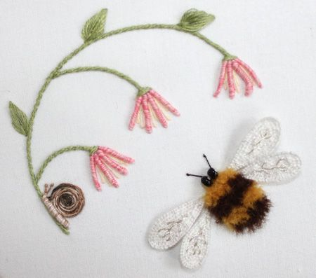 bee and flowers stumpworkBeautiful Flower, Embroidered Bees, Crazy Quilt, Hands Embroidered, Flower Stumpwork, Embroidery, Embroidery Bee, Stumpwork Embroidery, Bees Stumpwork