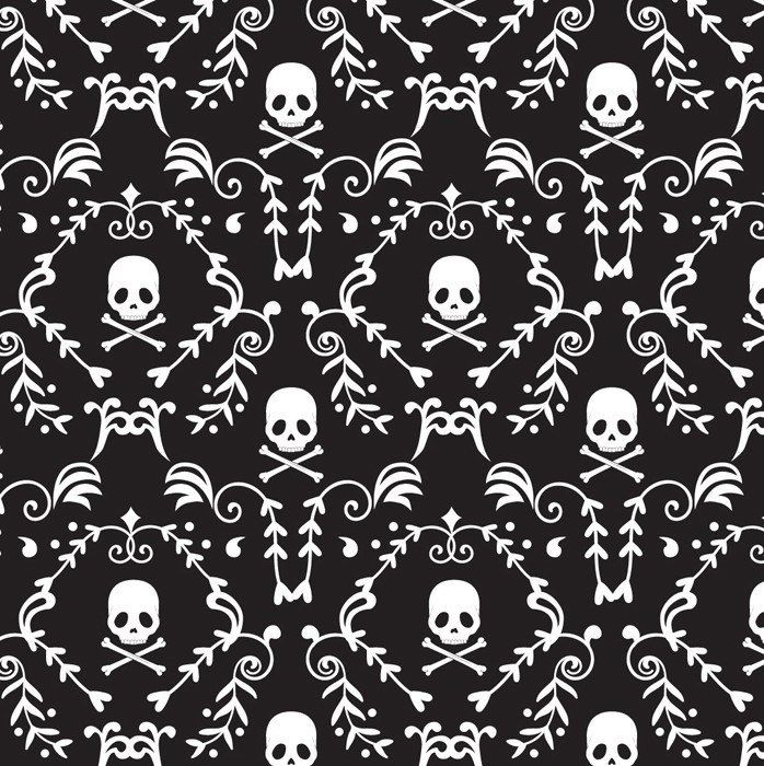 Punk Rock Damask, Skulls, Skull & Crossbones, Black and White - 100% Cotton, By the Half Yard by BaysideFabrics on Etsy