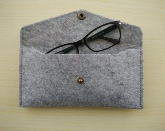 Hand-made woolen felt Glasses case/ Iphone 6 sleeve/ Pouch / Wallet/ Pencil case, single pocket with button