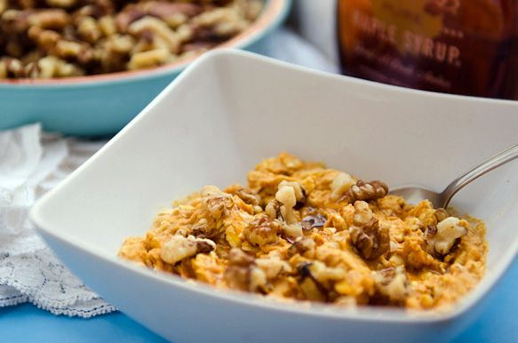 Pumpkin Coconut Overnight Oats -1/3 cup oats  -1/4 cup light coconut milk  -1 Tbsp. soy milk  -1/4 cup pumpkin puree  -1/8 tsp. pumpkin pie spice  -Tiny pinch of salt  -1 Tbsp. maple syrup  -Walnuts, handful, chopped  -Cinnamon, a dash or two