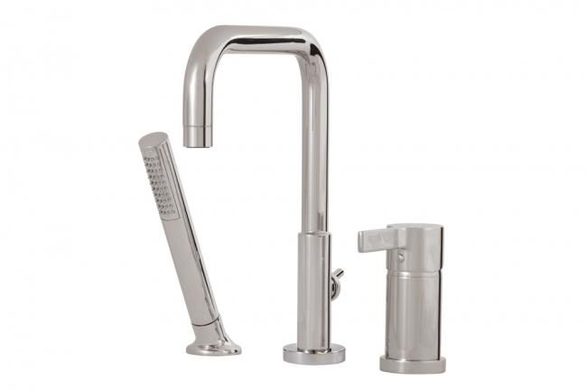 Aquabrass's 3-piece tub filler with hand shower / Blade Collection
