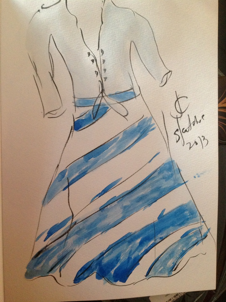 Striped blue skirt withwhite polo .. Ater colorsketches. By JY  <3  _ <3