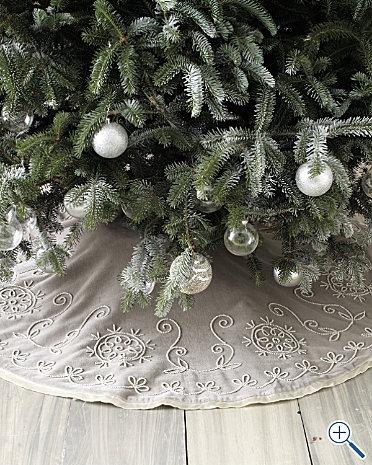 gorgeous garnet hill grey beaded velvet christmas tree skirt xmas - Silver Christmas Tree Skirt