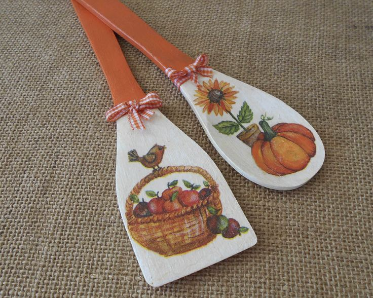 Autumn Decor Wooden Spoons Thanksgiving Ideas Sunflower
