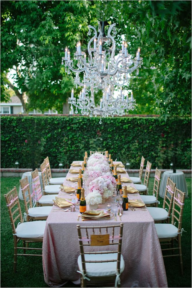 light pink white and metallic gold long table decor