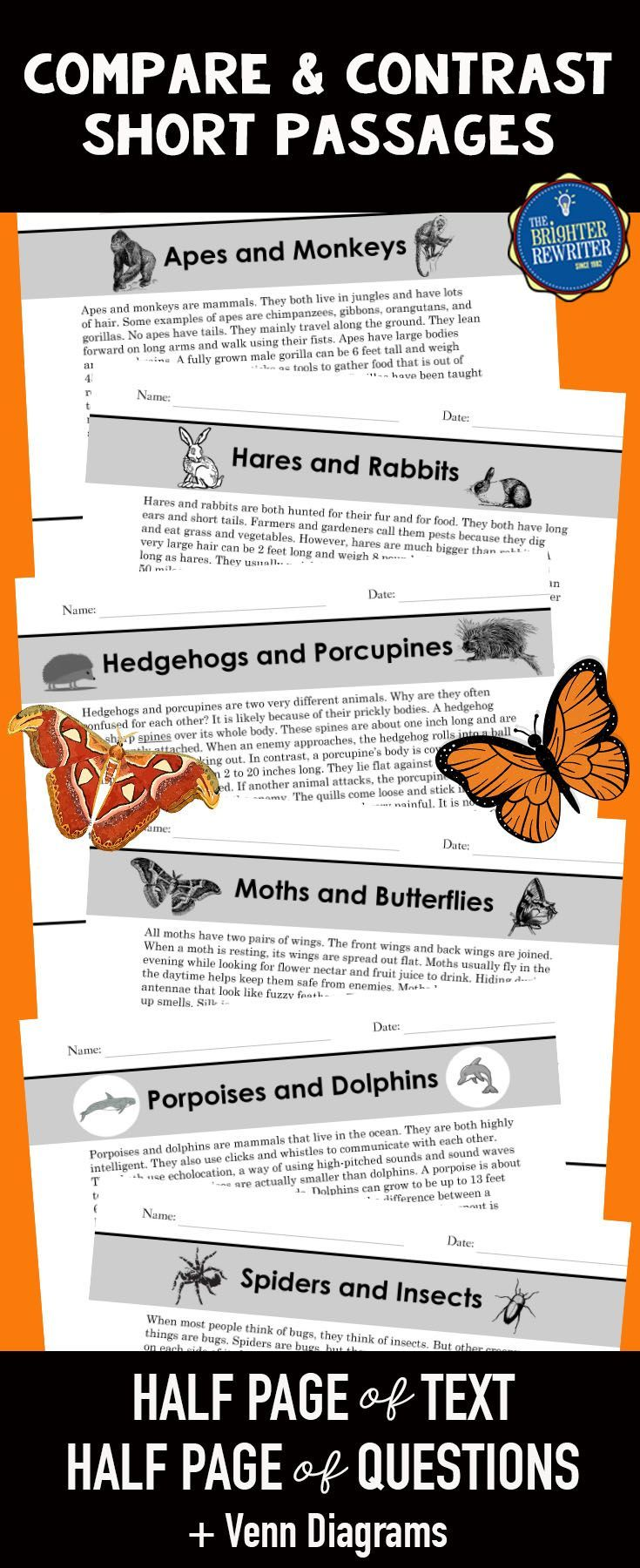 6 compare and contrast nonfiction mini-passages about animals, each featuring informational text and 4 multiple-choice comprehension questions on one page. The questions include a variety of reading skills and are modeled after the types of questions on standardized reading tests. The last two questions of each passage are about similarities and differences. Venn diagrams for each passage also included. Great for 3rd-5th!