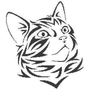 Free Cross Stitch Pattern - Cat face in tribal design
