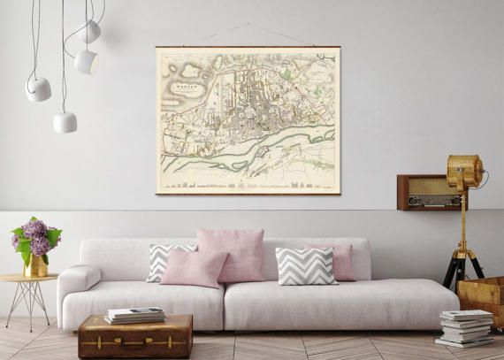Warsaw Map 44x55 Canvas Map antique maps giant