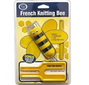 The classic French Knitting Bee pack includes: - 1 x Knitting Bee - 1 x Awl - 1 x Dual-Size Pom-Pom Maker (makes both small and large pom-poms)
