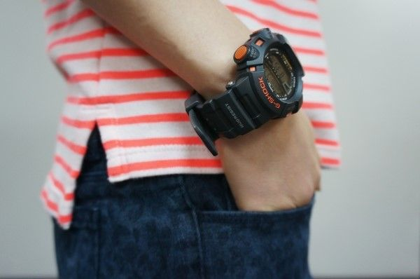 fashion, dailylook, striped, orage stripe, g-shock, casio, leopard, jeans