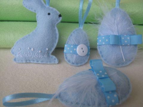 Húsvéti dekor készlet tollal 4db, Dekoráció, Ünnepi dekoráció, Húsvéti apróságok, Meska