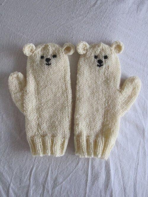 Knitted bear mittens