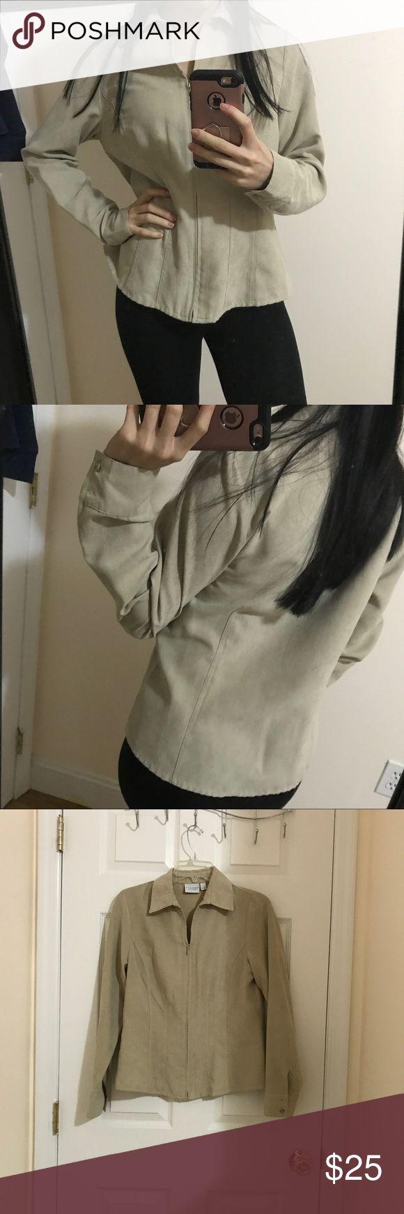 Suede beige zip up Brand new, fits size S/M Macy's Tops Sweatshirts & Hoodies