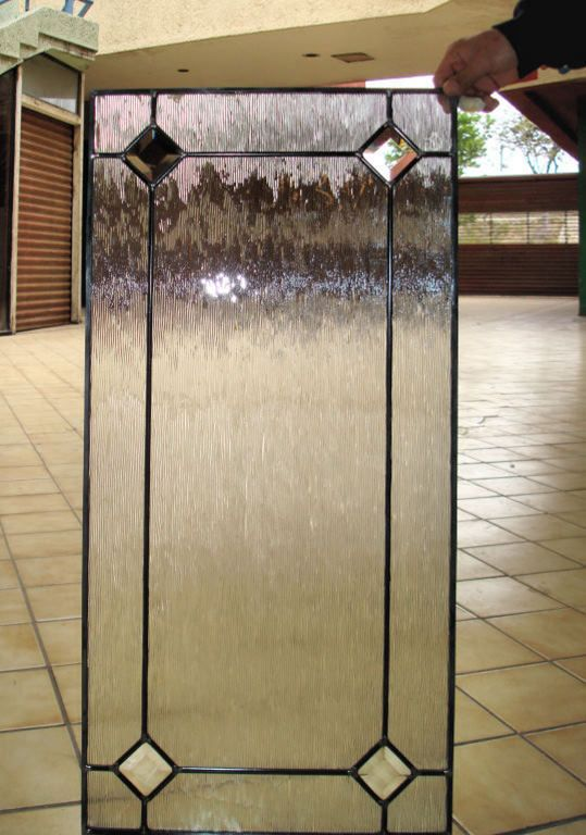 This Cabinet Glass Insert Has An Outer Border With Bevels, And An Obscure  Sparkling Background