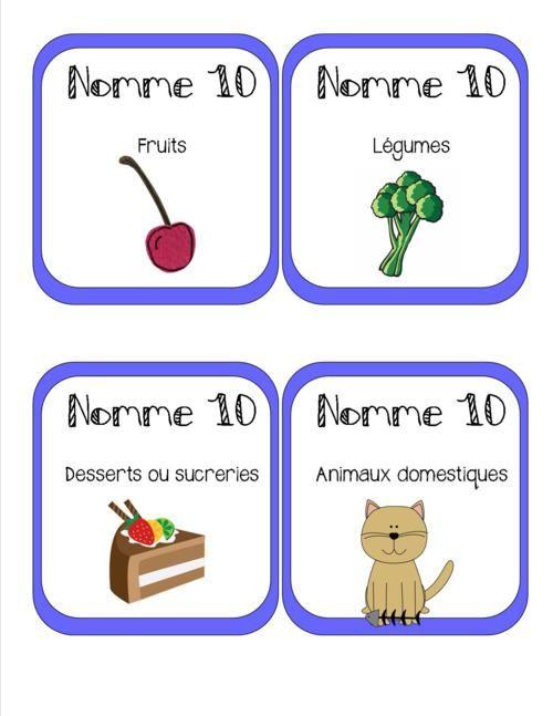 Atelier Nomme 10 = 50 Cartes en couleur pour favoriser le vocabulaire des élèves