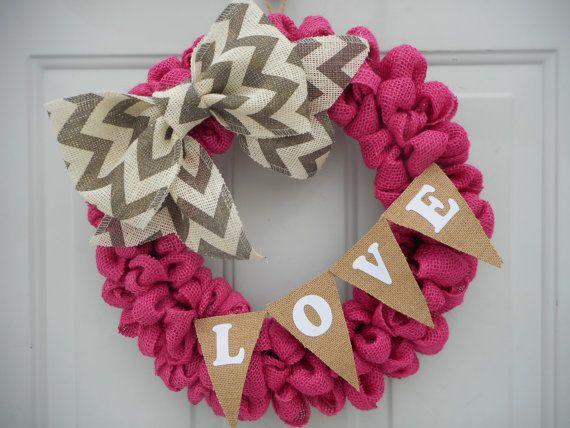 Pink Burlap Valentine wreath Valentine wreath by ChloesCraftCloset