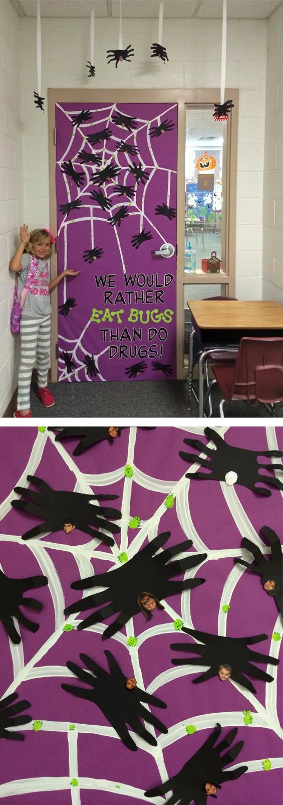 "Red Ribbon Week - door idea. ""We would rather eat bugs than do drugs."" Handprint spiders."