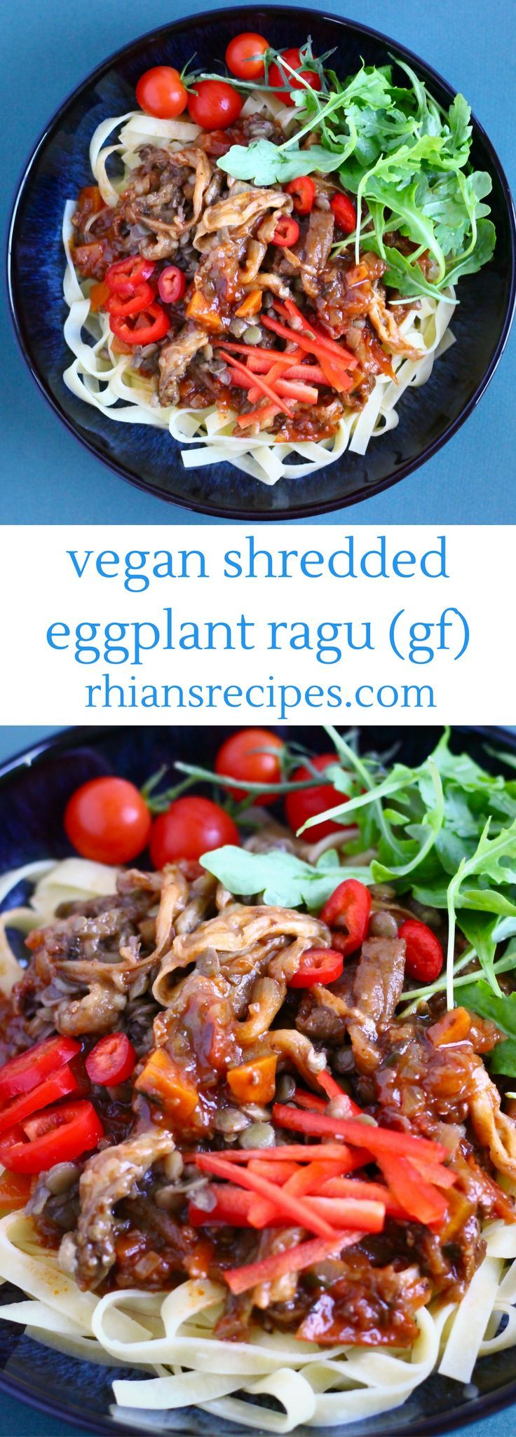 This Vegan Shredded Eggplant (Aubergine) Ragu is the perfect healthy way to warm up on a chilly autumn evening. A delicious meat-free bolognese-type sauce for pasta made using lentils, porcini mushrooms, sundried tomatoes and shredded eggplant. Gluten-free.
