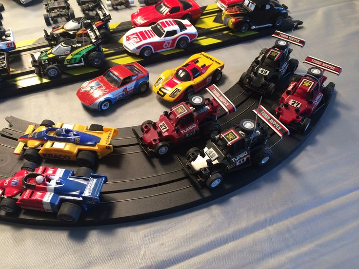 Classic Tyco Slot cars from 1980-1990's Close up of the F1, Turbo Hoppers and Misc other cars in the background