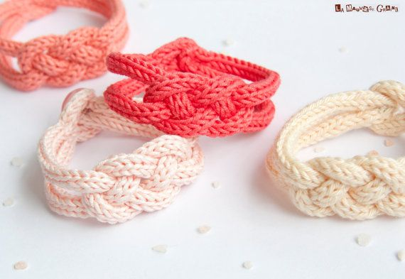 French knitted cotton bracelet Peach and door LaMauvaiseGraine, €8.80