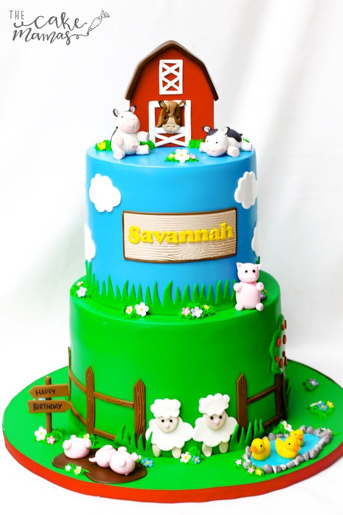 Farm Themed Cake For A Birthday Call Or Email To Place Your Orders Today Fondant Farmhouse Animals Birthdaycake
