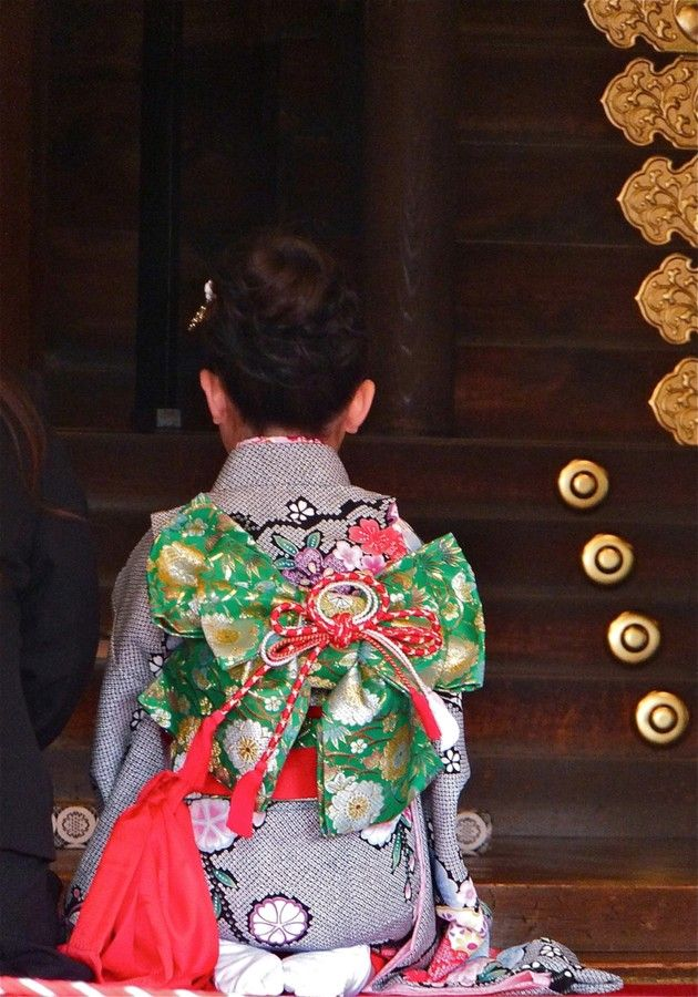 Little girl dressed up for 7-5-3 day in Japan.