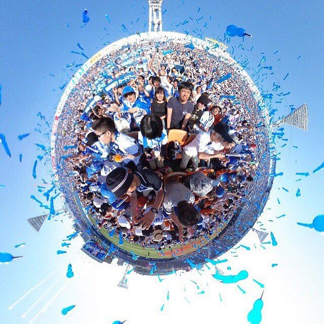 #theta360 #littleplanet #横浜スタジアム #ハマスタ #baystars #ラッキー7 #ジェット風船 #baseball #stadium by tkk.360album