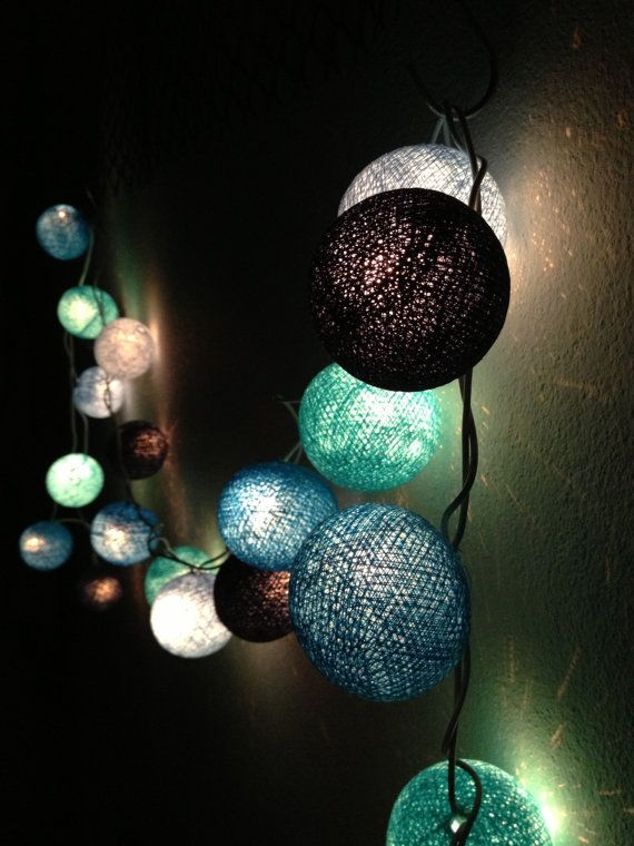 BLUE Tone colors cotton ball holiday/Party String Lights 20 Lanterns on Etsy, $11.50