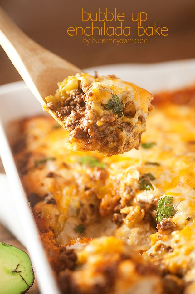 An enchilada casserole made with fluffy warm biscuits instead of tortillas. YUM!