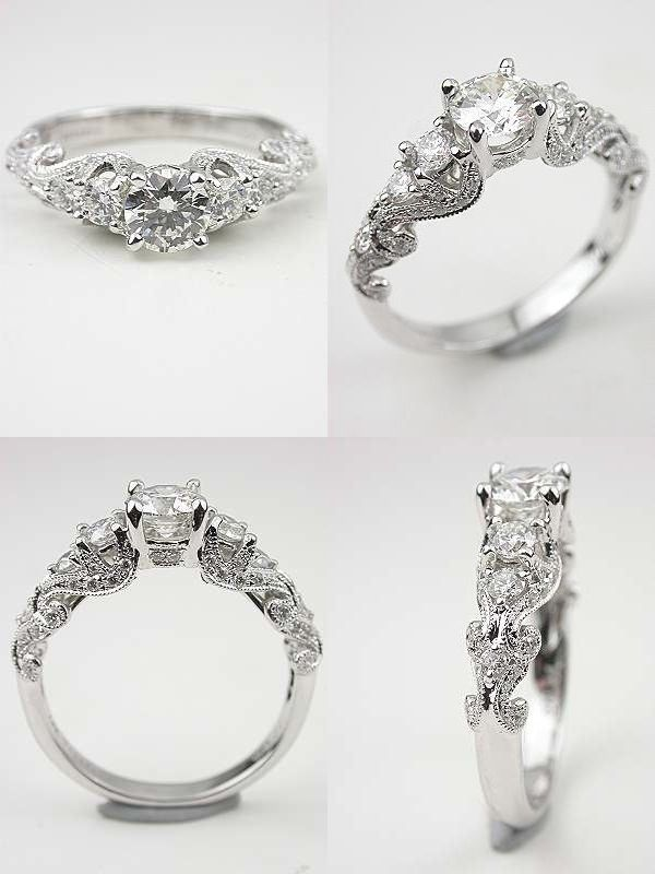 romantic rings vintage ring solitaire engagement round diamond brilliant wedding