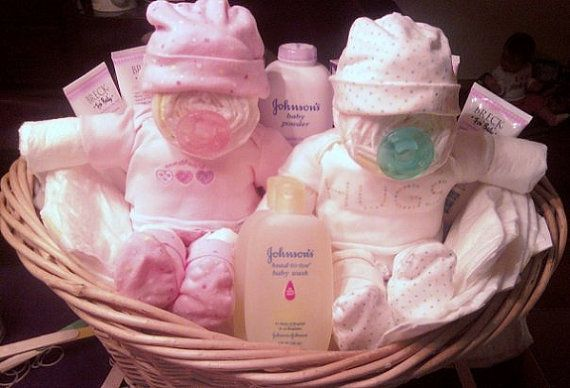 Homemade Diaper Cakes for Girls | Twins Diapie custom gift basket by alagamba on Etsy, $50.00