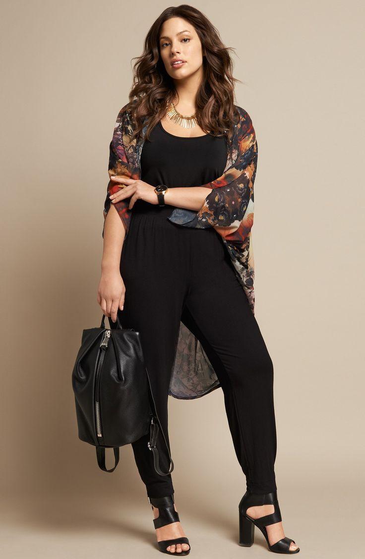 City Chic Open Front Jacket & Sejour Ankle Pants (Plus Size) | Nordstrom