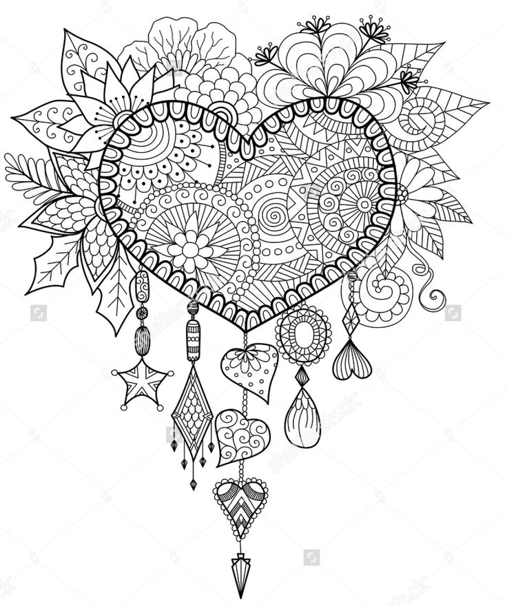 Heart Shaped Floral Dreamcatcher Shutterstock Adult Coloring PagesColoring BooksMandala