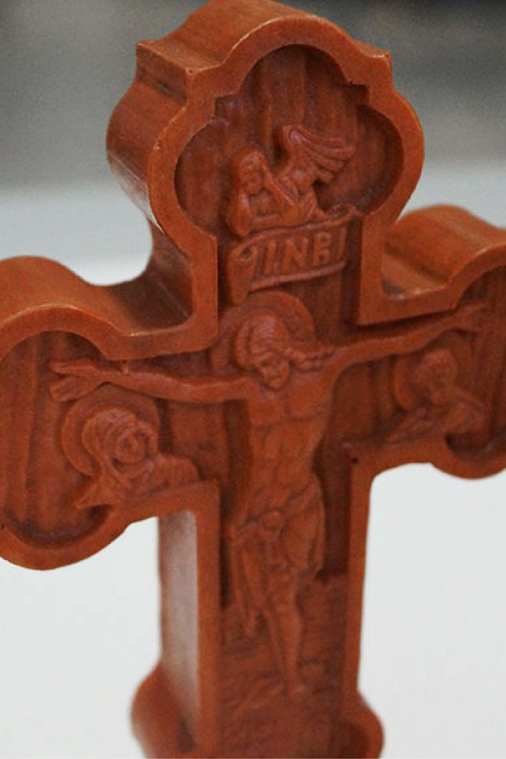 Table Cross for Blessing - Iviron Monastery - This Cross is a pure monastic product made by the monk in the Holy Monastery of Iviron on Mount Athos. It is made of crushed wood, compressed in a mold, with the impression of the canonical symbolism of an authentic Blessing Cross. Dimensions: 9.5 x 21.5 #table #cross #iviron #monastery #orthodoxy #greek #monks #prayer #devotion