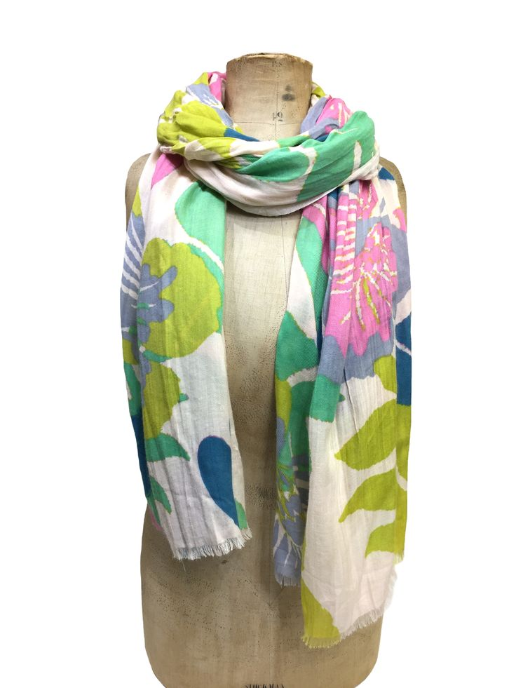 Rosie - palm print scarf by Hem&Edge #multi 100% viscose 100x180cm #gorgeousgreens #scarf #accessories #onebutton #hemandedge Click to buy from the One Button shop.